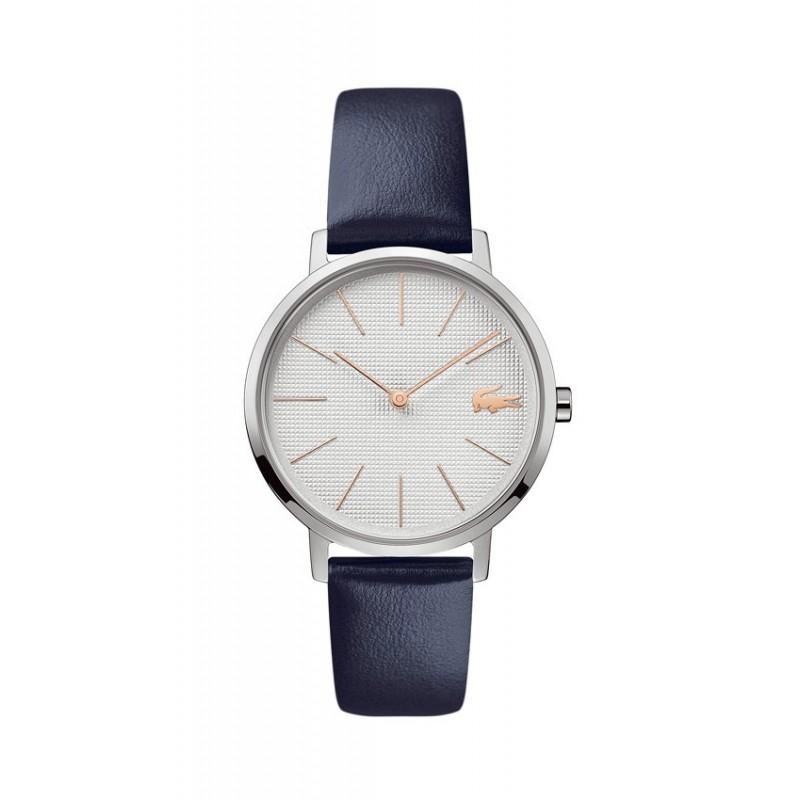 Relógio Lacoste Moon 2001077 para mulher com pulseira de couro azul, 3 ATM