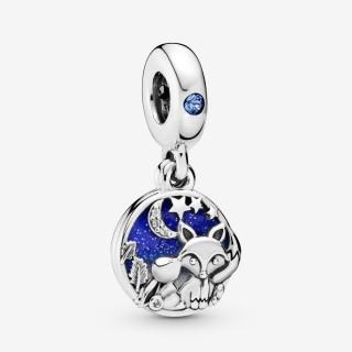 Charm Pandora 798239NMB de prata em forma de raposa e coelho com zircônia
