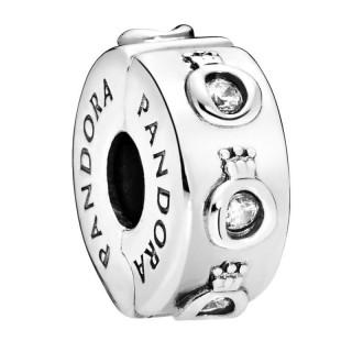 Clip Pandora 798326CZ de plata en forma de corona O con circonita