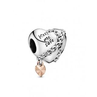 Charm Pandora 788344 de prata rose em forma de coração encadeado