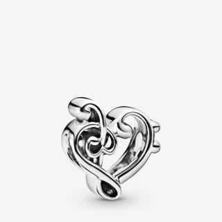 Charm Pandora 798346 de prata em forma de clave de sol e coração