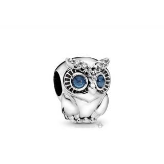 Charm Pandora 798397NBCB de prata em forma de coruja brilhante com zircônia