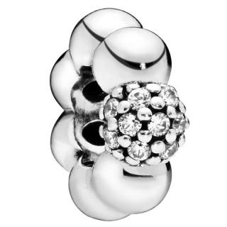 Separador Pandora 798310CZ de prata em forma de bolas lisas com zircônias