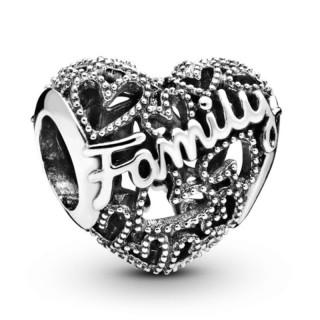 Charm Pandora 798571C00 de prata em forma de coração familiar