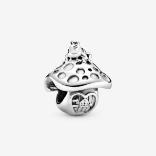 Charm Pandora 798558C00 de prata em forma de cogumelo e rã