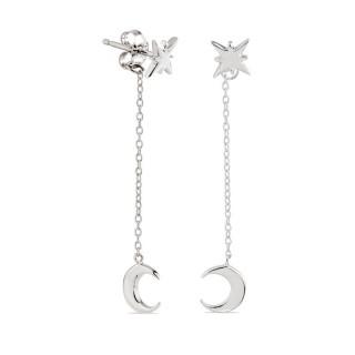 Pendientes de plata en forma de estrella y luna 2 en 1