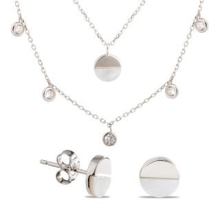Conjunto de collar e pendientes de plata nácar y chatones, 45 + 5 cm