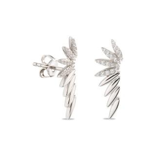 Pendientes de plata trepador espiga con circonita