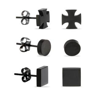 Conjunto de 3 pendientes de acero para hombre en forma de cuadrado, círculo y cruz