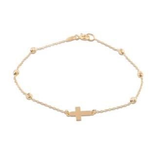 Pulseira de ouro com detalhe em forma de cruz e bolinhas