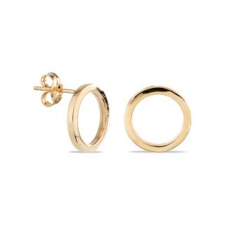 Brincos de ouro em forma de círculo, 12 mm