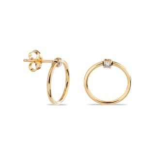 Pendientes de oro en forma de círculo con circonita, 13 mm