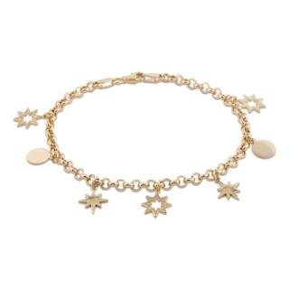 Pulsera de oro con detalle en forma de estrellas y círculos