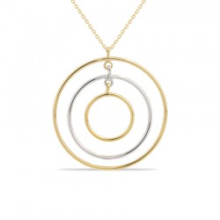 Colar de ouro bicolor com detalhe de 3 círculos, 42 + 3 cm
