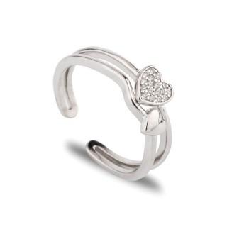 Anillo de plata abierto con detalle en forma de corazón con circonita