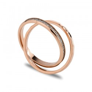 Anel duplo de aço rosa com tira de cristal branco