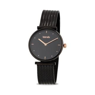 Reloj Borelli SS16694L49 para mujer con correa milanesa negra y esfera negra, 3 ATM