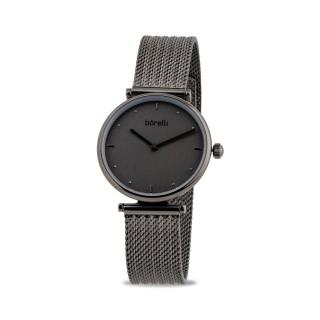 Relógio Borelli SS16694L50 para mulher com pulseira milanesa cinza e mostrador cinza, 3 ATM