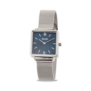 Reloj Borelli SS16637L64 para mujer con correa milanesa y esfera cuadrada azul, 3 ATM