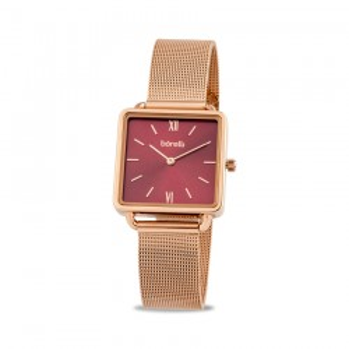 Reloj Borelli SS16637L65 para mujer con correa milanesa rosa y esfera cuadrada, 3 ATM