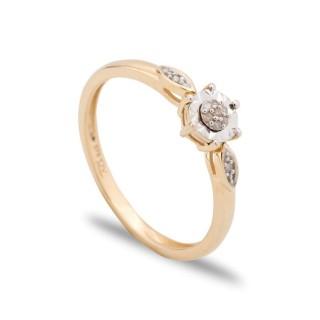 Anel de ouro amarelo com diamante de 0.025 CT a 6 garras