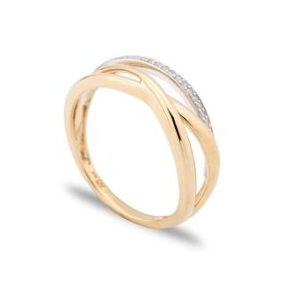 Anillo de oro bicolor 9 KT y diamante en forma entrelazada