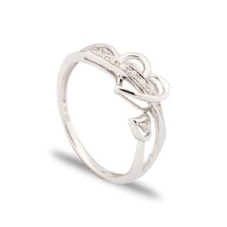 Anillo de oro blanco 9 KT y diamante en forma de corazón