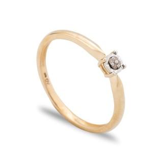 Anel de ouro 9 KT com diamante a 4 garras