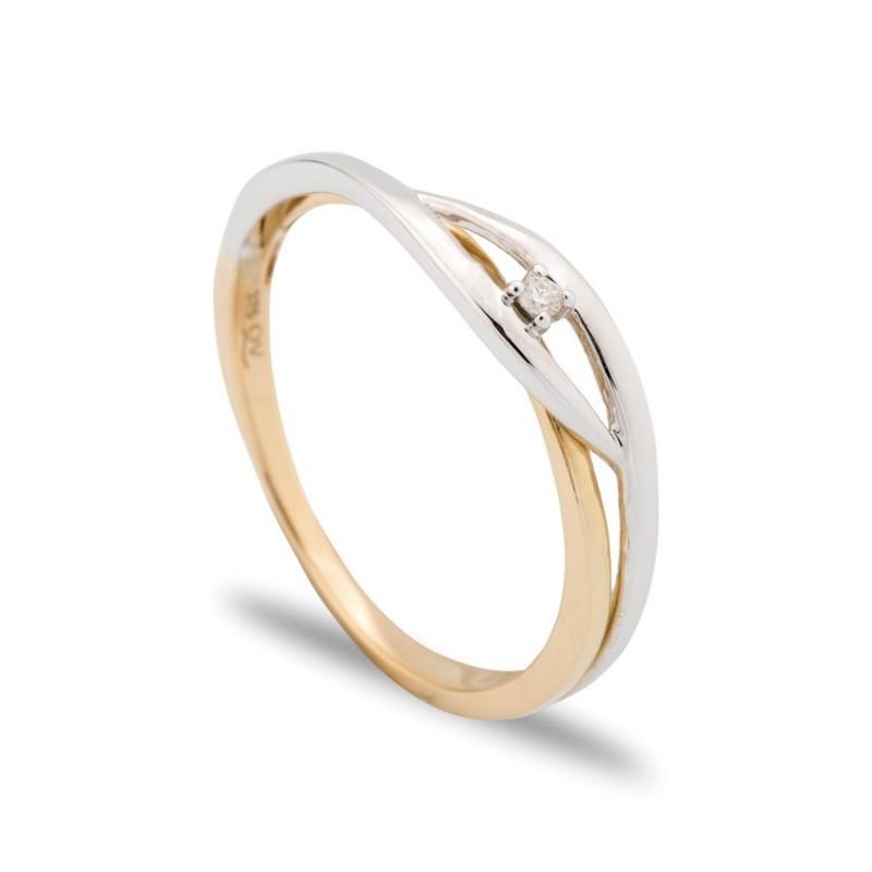 Anillo de oro bicolor 9 KT entrelazado con diamante central