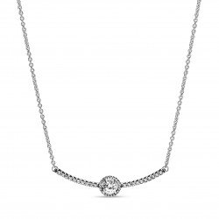 Collar Pandora 398490C01-45 de plata brillo redondo con circonita, 45 cm