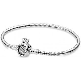 """Pulseira Pandora 598286CZ-19 de prata com fecho coroa """"O"""", 19 cm"""