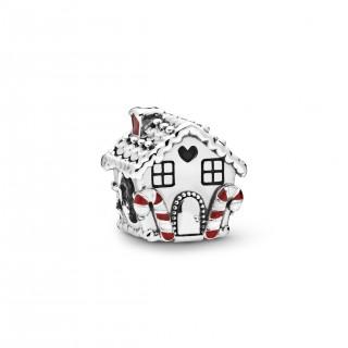 Charm Pandora 798471C01 de plata en forma de casa de jengibre con circonita