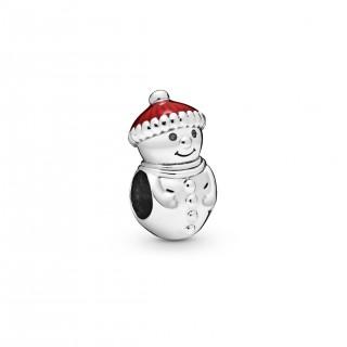 Charm Pandora 798478C01 de plata en forma de muñeco de nieve con gorro rojo