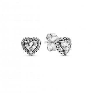 Pendientes Pandora 298427C01 de plata en forma de corazón en relieve