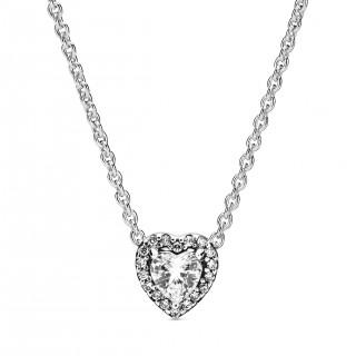 Colar Pandora 398425C01-45 de prata com detalhe em forma de coração com relevo, 45 cm