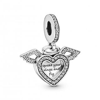 Charm Pandora 798485C01 colgante de plata en forma de corazón y alas de ángel con circonita