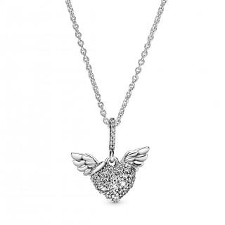 Colar Pandora 398505C01-45 de prata em forma de asas de anjo com zircônia, 45 cm