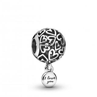 "Charm Pandora 798606C00 de plata en forma de corazón ""I love you"""