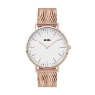 Reloj Cluse La Boheme CW0101201001 para mujer con correa milanesa chapada rosa y esfera blanca, 3 ATM