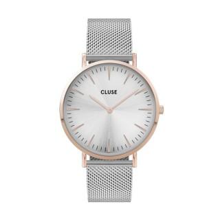 Reloj Cluse La Boheme CW0101201006 para mujer con correa de milanesa rosa y esfera blanca/rosa, 3 ATM