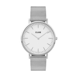 Reloj Cluse La Boheme CW0101201002 para mujer con correa milanesa y esfera blanca, 3 ATM
