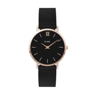 Reloj Cluse Minuit CW0101203024 para mujer con correa milanesa negra y esfera negra/rosa, 3 ATM