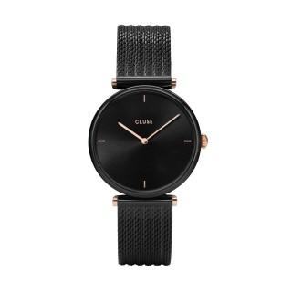 Reloj Cluse Triomphe CW0101208004 para mujer con correa milanesa negra y esfera negra/rosa, 3 ATM