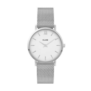 Reloj Cluse Minuit CW0101203002 para mujer con correa milanesa y esfera blanca, 3 ATM
