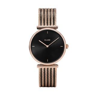 Reloj Cluse Triomphe CW0101208005 para mujer con correa milanesa bicolor y esfera negra/rosa, 3 ATM