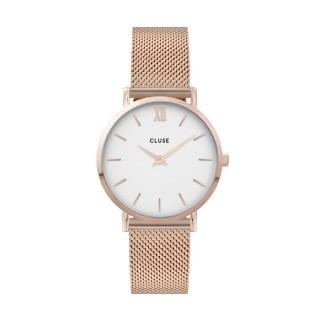 Reloj Cluse Minuit CW0101203001 para mujer con correa milanesa rosa y esfera blanca, 3 ATM