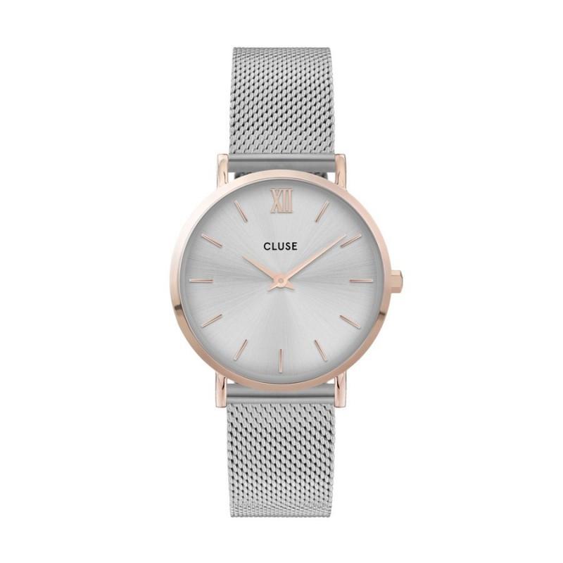 Relógio Cluse Minuit CW0101203004 para mulher com pulseira milanesa e mostrador branco/rosa, 3 ATM