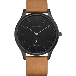 Reloj Bering Classic 16641-522 para hombre con correa de cuero marrón y esfera negra , 3 ATM