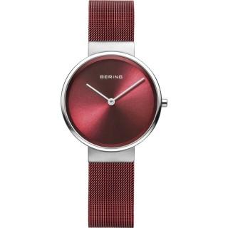Relógio Bering Classic 14531-303 para mulher com pulseira milanesa vermelha e mostrador vermelha, 5 ATM