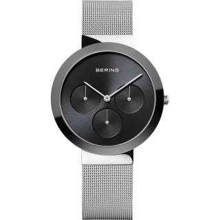 Relógio Bering Ceramic 35036-002 para mulher com pulseira milanesa e mostrador preto/cerâmica, 5 ATM